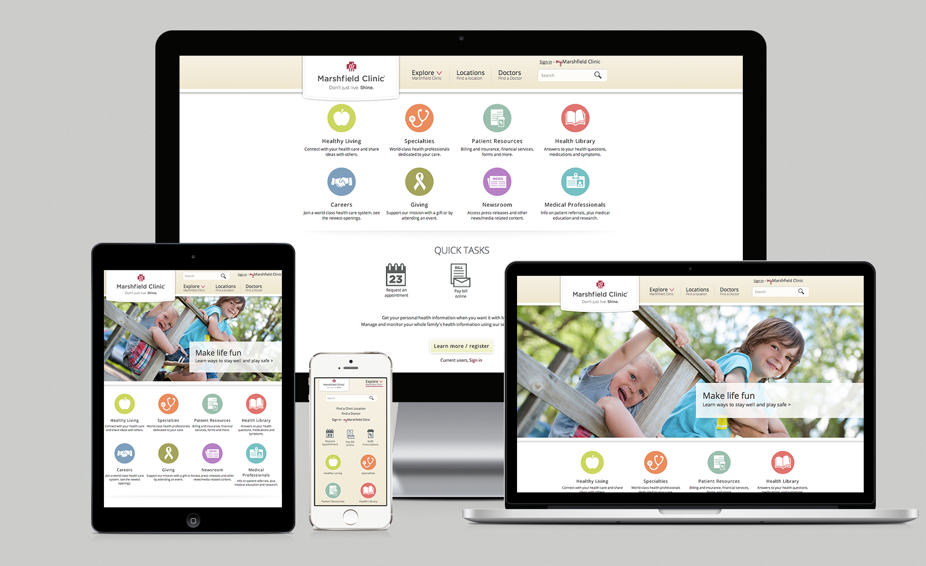 Collection of computer, tablet and mobile device displaying Marshfield Clinic landing page