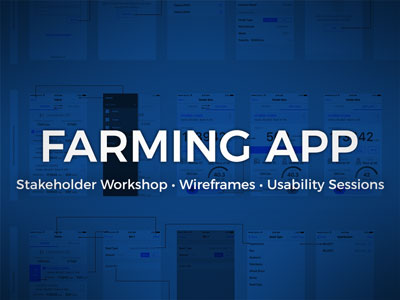 Wireframe of farming app underneath blue overlay